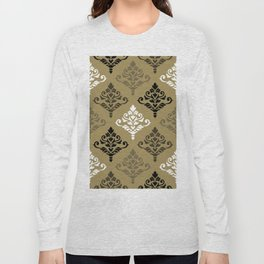 Cresta Damask Ptn Black White Bronzes Gold Long Sleeve T-shirt
