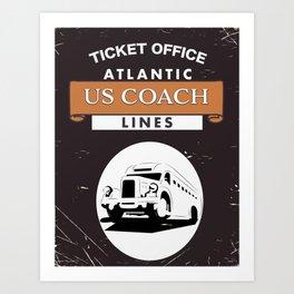 Vintage US Coach poster Art Print