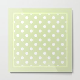 Pistachio Green Polka Dots Palm Beach Preppy Metal Print