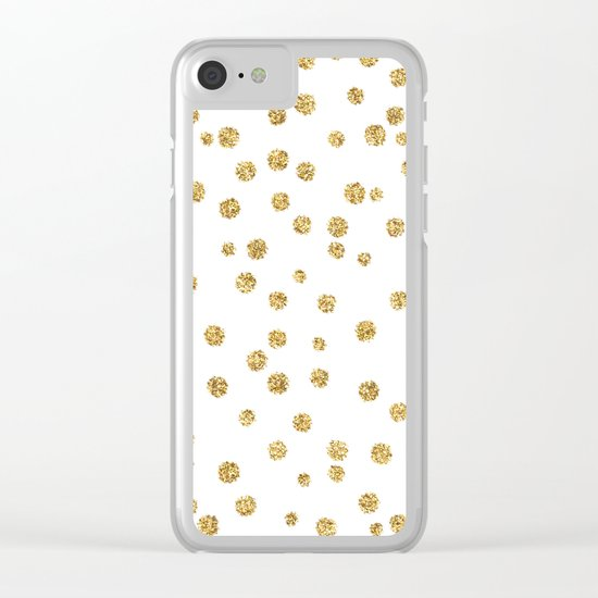 Gold glitter confetti on white - Metal gold dots Clear iPhone Case