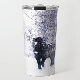 Black beauty horse in winter landscape Travel Mug