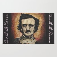 poe Area & Throw Rugs featuring Poe by Colunga-Art