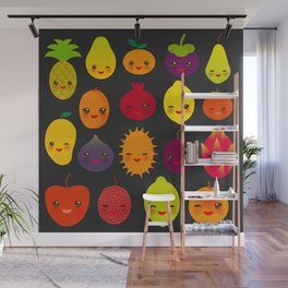 kawaii fruit Pear Mangosteen tangerine pineapple papaya persimmon pomegranate lime Wall Mural