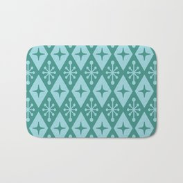 Mid Century Modern Atomic Triangle Pattern 711 Green and Blue Bath Mat