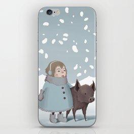 Pig in snow iPhone Skin