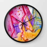 amelie Wall Clocks featuring Amelie by Laurie Art Gallery