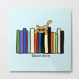 Smart kitty: great gift for writers who love cats! Metal Print