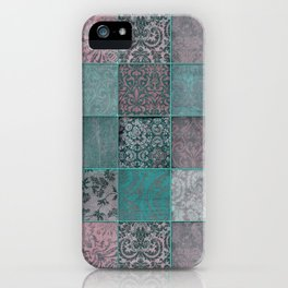 Nostalgic Patchwork Pattern Teal And Pink iPhone Case