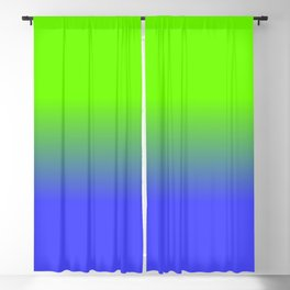 Neon Blue and Neon Green Ombré  Shade Color Fade Blackout Curtain