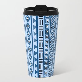 Aztec Influence Pattern II Blues Black White Travel Mug