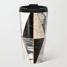 Marble Triangles - Black and White Marble Metal Travel Mug