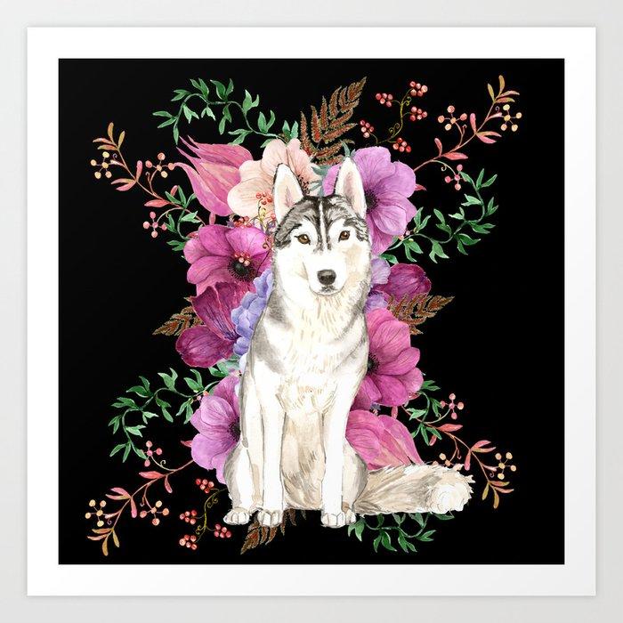 Watercolor Dog Siberian Husky Floral Art Art Print
