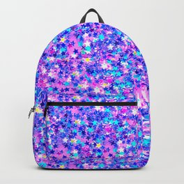 Modern pink navy blue teal abstract stars pattern Backpack