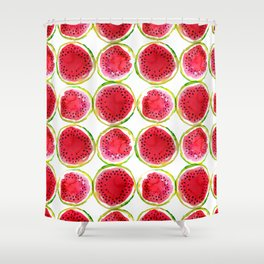 Watercolor watermelon fruit illustration Shower Curtain