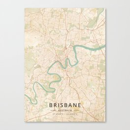 Brisbane, Australia - Vintage Map Canvas Print