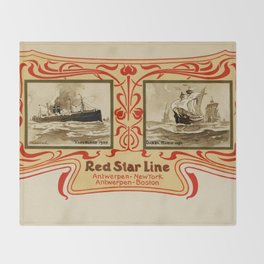 Red Star Line Antwerp New York ocean liners Throw Blanket