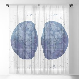 """Full moon in blue """"Once in a blue moon"""" Sheer Curtain"""