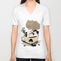 cafe V-neck T-shirts featuring Cafe Latte by ShangheeShin