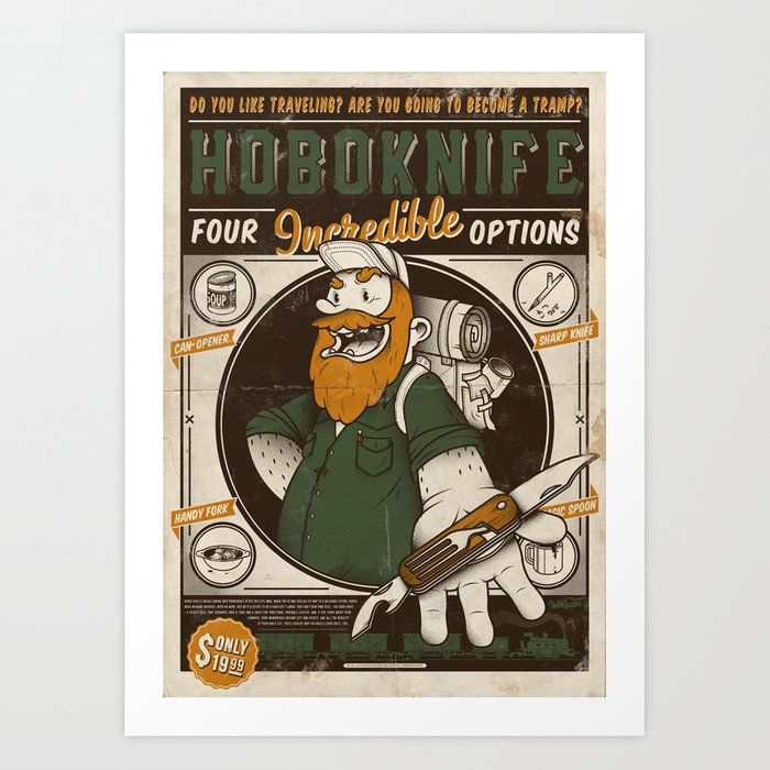 d755db725d9 Classic Posters. Hobo Knife Art Print by dangermanar | Society6