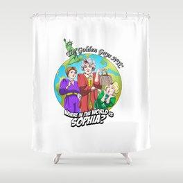 Where in the World is Sophia? Josh Dunbar cartoon Shower Curtain