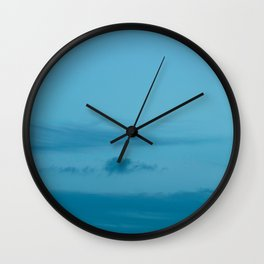 Blue Sky with Dark Blue Clouds Wall Clock