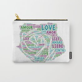 Rose illustrated with Love Word of different languages Carry-All Pouch