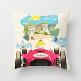 Peach Beach Grand Prix Throw Pillow