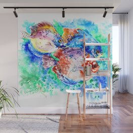 Underwater Scene Artwork, Discus Fish, Turquoise blue pink aquatic design Wall Mural