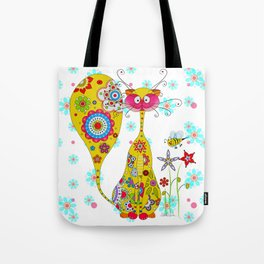 A Cat an the little Bee Tote Bag