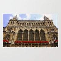 vienna Area & Throw Rugs featuring Building in Vienna by Kim Ramage