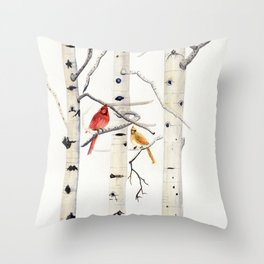 Birch Trees and Cardinal Throw Pillow