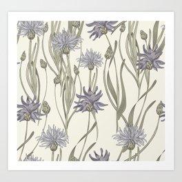 vintage cornflowers Art Print
