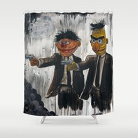 sesame street Shower Curtains featuring Pulp Street by Beery Method