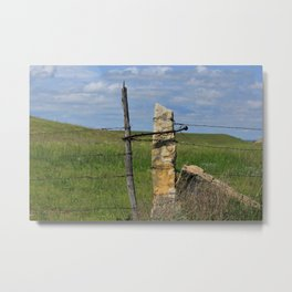 Kansas Limestone Gate Post Metal Print