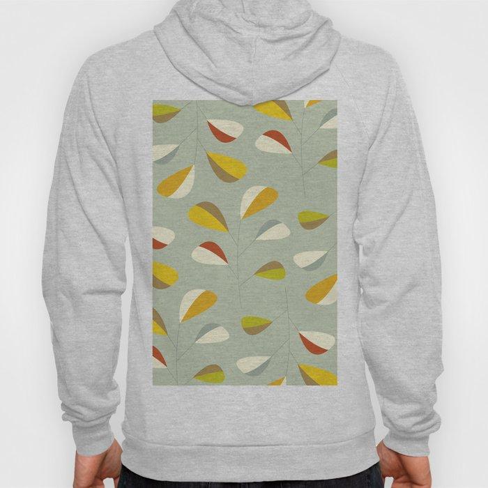 Mid Century Modern Graphic Leaves Pattern 1. Vintage green Hoody