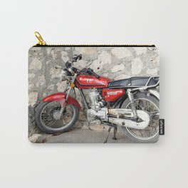 Motorbike red parked by the cement wall Carry-All Pouch