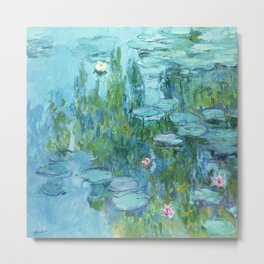 Claude Monet Water Lilies / Nymphéas teal aqua Metal Print