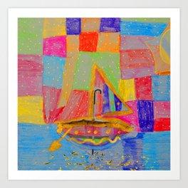 When an umbrella transforms into a boat on Christmas night Art Print