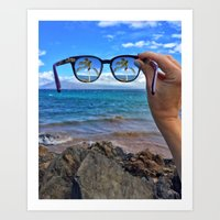 Hawaii Sunglasses Palmtrees Art Print