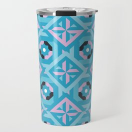 Nuts and Bolts Modern Spanish tile pattern // blue and pink Travel Mug