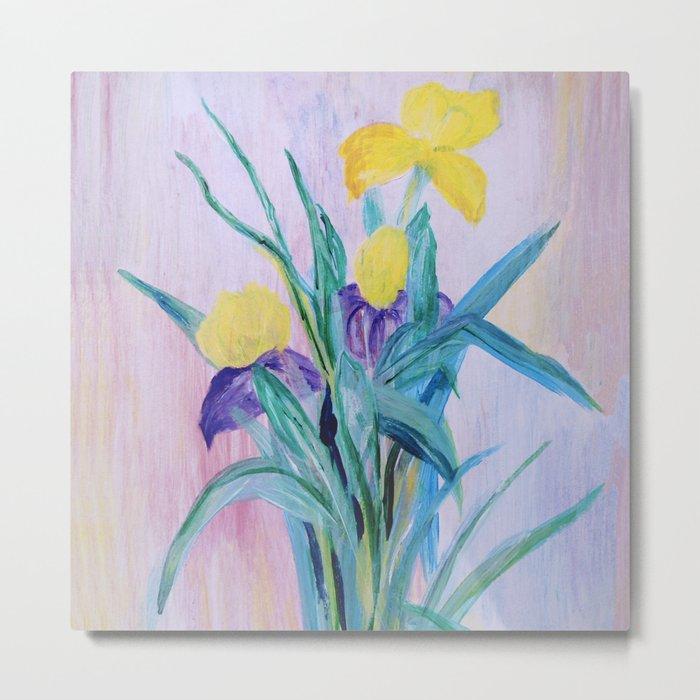 yellow irises on a purple background Metal Print