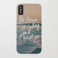 leah flores iPhone & iPod Cases featuring The Ocean is Calling by Laura Ruth and Leah Flores  by Laura Ruth