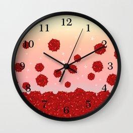 Roses and Star Wall Clock