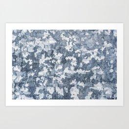 Camouflage Print Cool Blue Paint Texture Surface 47 Art Print