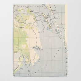Vintage Map of Roanoke Island & Outer Banks NC Poster