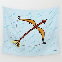 sagittarius Wall Tapestries featuring Sagittarius by Giuseppe Lentini