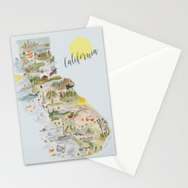 Watercolor Map of California Stationery Cards