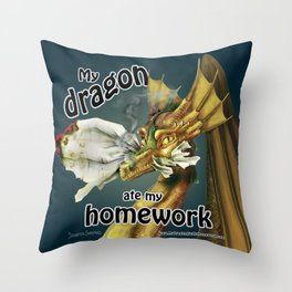 My Dragon Ate My Homework Throw Pillow