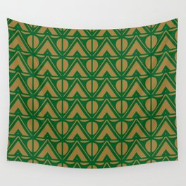 Green Sun & Mountains Abstract Retro Wall Tapestry