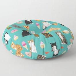 Cat breeds junk foods ice cream pizza tacos donuts purritos feline fans gifts Floor Pillow